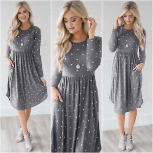 Women-Long-Sleeve-Boho-Casual-Maxi-Formal-Party-wedding-Beach-Dress-Sundress