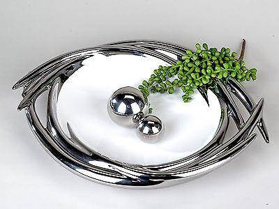 Moderne Deko Schale Obstschale weiß/silber aus Keramik Durchmesser 36 cm