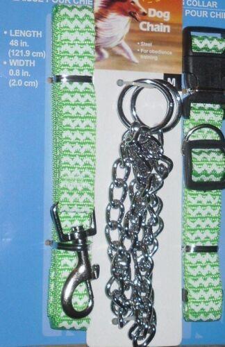DOG LEASH// CHOKECHAIN// COLLAR COMPLETE SET MEDIUM GREEN PET LEAD CMY OTHER ITEMS