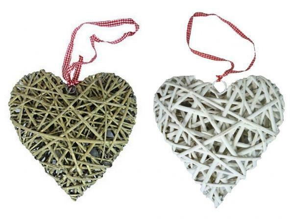 Hanging Wicker Heart Wedding Party Decoration with Gingham Ribbon