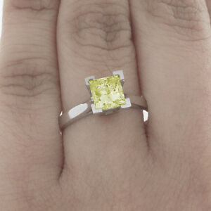 Methodical Style Ancien 1.92 Carat Taille Princesse Diamant Solitaire Chic Jaune 18k Wg Gia Fine Jewelry