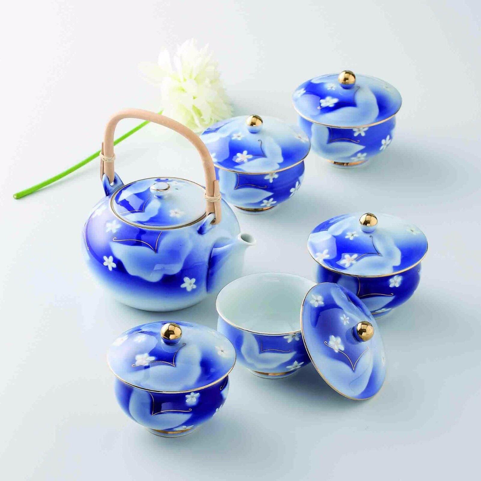 Hasami Porcelain  Papillon-japonais Kyusu Tea Pot & 5 Tasse à Thé Set Box