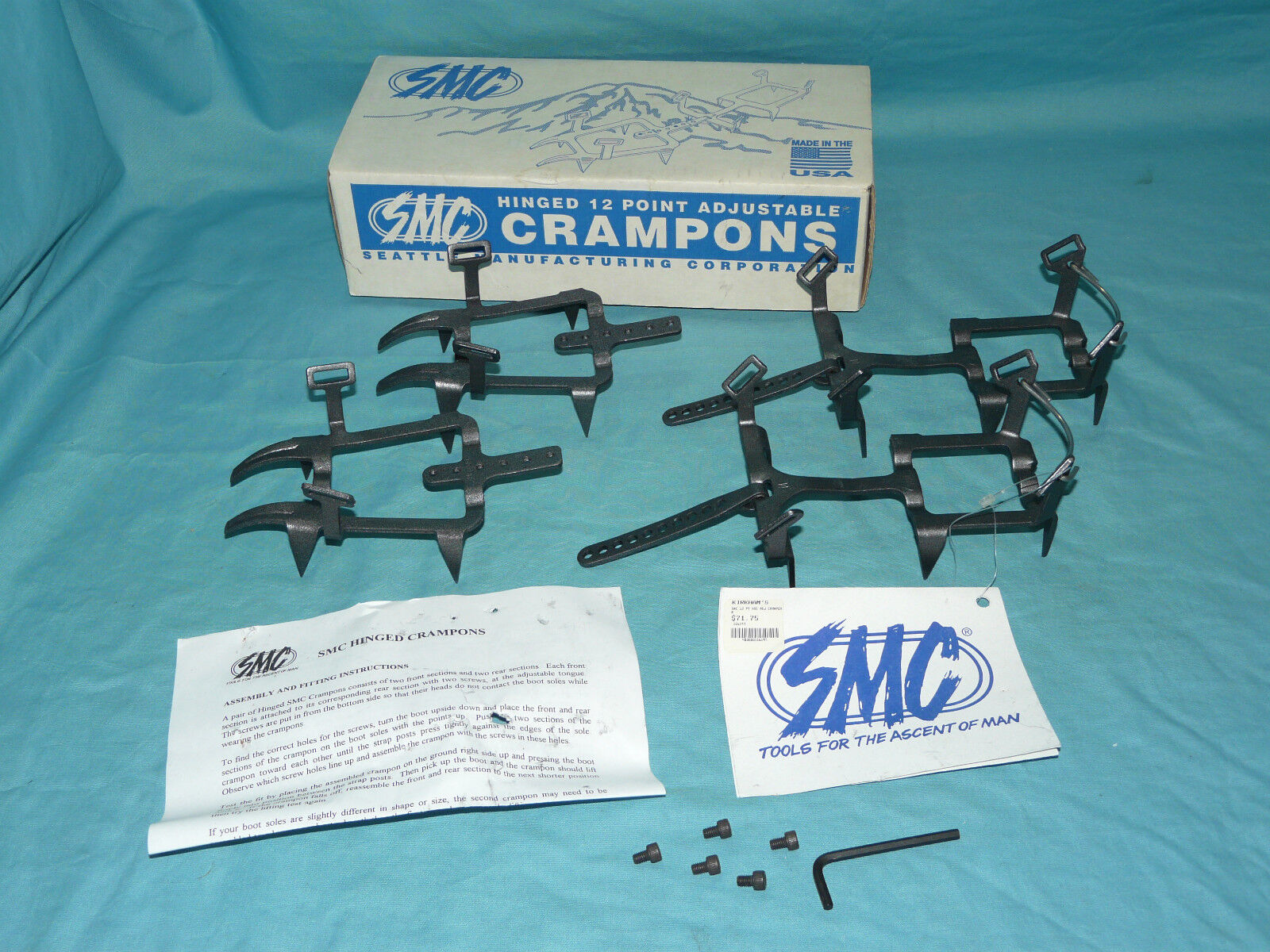 SMC Seattle Manufacturing Corp Hinged 12-Point CRAMPONS Size Medium NEW with box