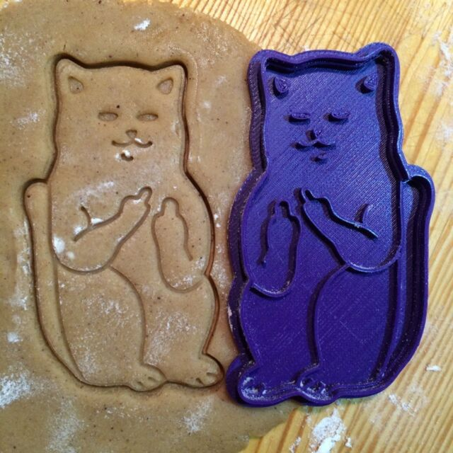 Cat giving the finger cookie cutter - 1pcs - Plastic 3d printed (PLA)