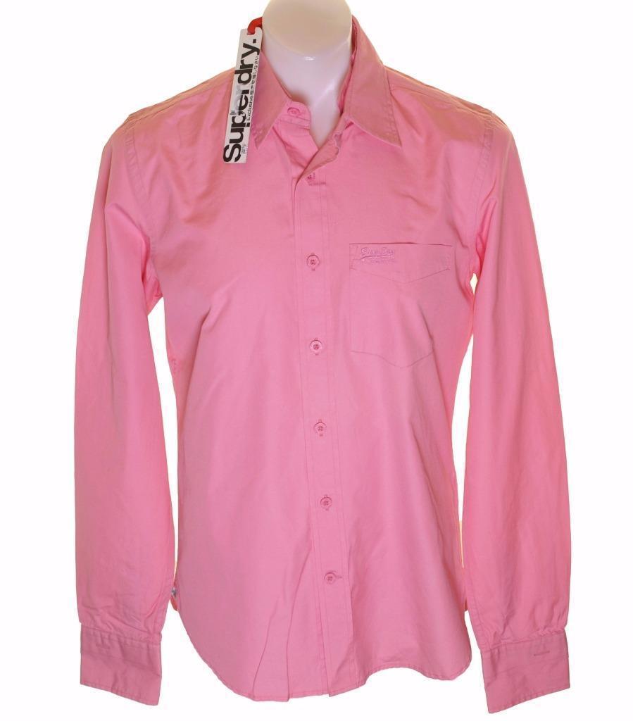 Bnwt Men's Superdry Shoreclub Shirt Large New Long sleeved Pink