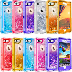 big sale ae0c7 20179 Details about For iPhone 7 8 6s X & Plus Glitter Liquid Defender Case Belt  Clip Fits Otterbox