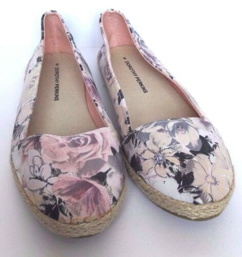P 5 Free Uk Flat Perkins Womens Floral Shoes Canvas Dorothy amp;p HPq7z