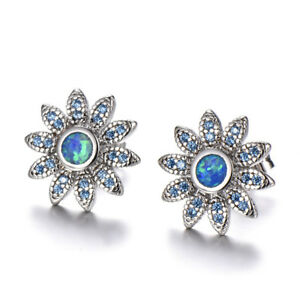Exquisite-Blue-Fire-Opal-amp-Aquamarine-Daisy-Stud-Earrings-925-Silver-Jewelry-Gift