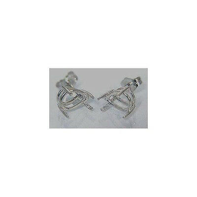1 Pair ( 6x4mm - 12x8mm ) Pear Shape Solid Sterling Silver Earring Settings