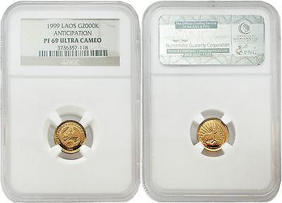 Laos 1999 Anticipation 2000 Kip 1//25 oz Gold NGC PF69 ULTRA CAMEO