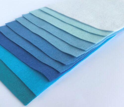 Boys Blue Collection Wool Mix 9 inch Felt Square 10 Sheets Soft Craft Felt!