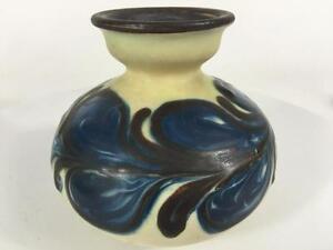 Herman-Kahler-Keramik-HAK-Vtg-Denmark-1930-039-s-Small-Vase-Signed-Slip-Handpaint-4-034