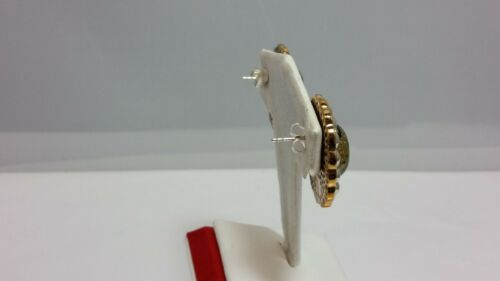 Designer Amy Russell Coated Agate bicolore Bronze//Argent Boucles d/'oreilles 925 postes