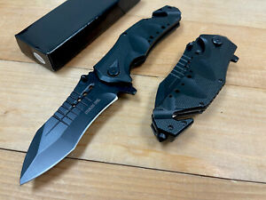 """8.5"""" Tac Force Tactical Open Folding Blade Spring Assisted Black Pocket Knife."""