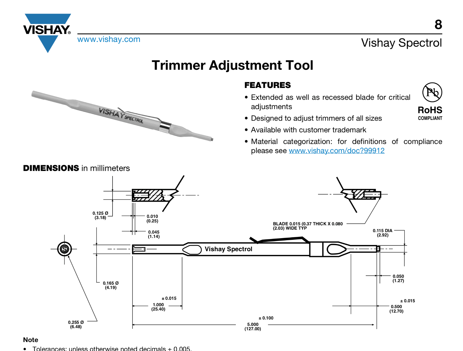 VISHAY SPECTROL 008T000 Trimmer Adjustment Tool W//Clip for VISHAY Trimmers Pack of 2