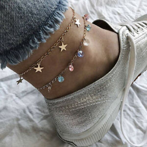 Female-Multi-Layer-Anklet-Colorful-Rhinestone-Five-Pointed-Star-Pendant-Anklets