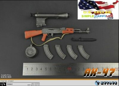 1//6 AKS 47 Assault Rifle Foldable Soldier Weapon DRAGON Soviet For Hot Toys USA