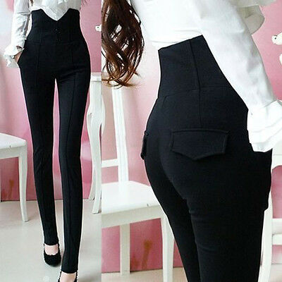 Sexy Women High Waist Pants Stretchy Pencil Slim Skinny Jeans Trousers Leggings
