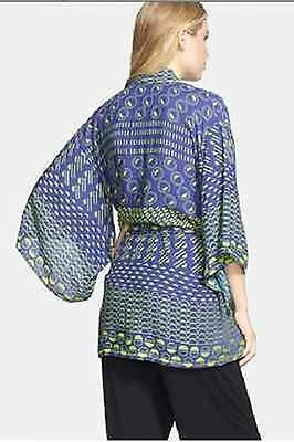 NEW JOSIE BY NATORI BLUE & GREEN ECLIPSE HAPPY COAT ROBE SZ S SMALL