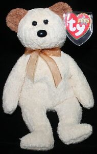 TY BEANIE BABY 2000 HUGGY TEDDY MINT BEAR LIGHT BROWN/TAN RETIRED TERRY CLOTH