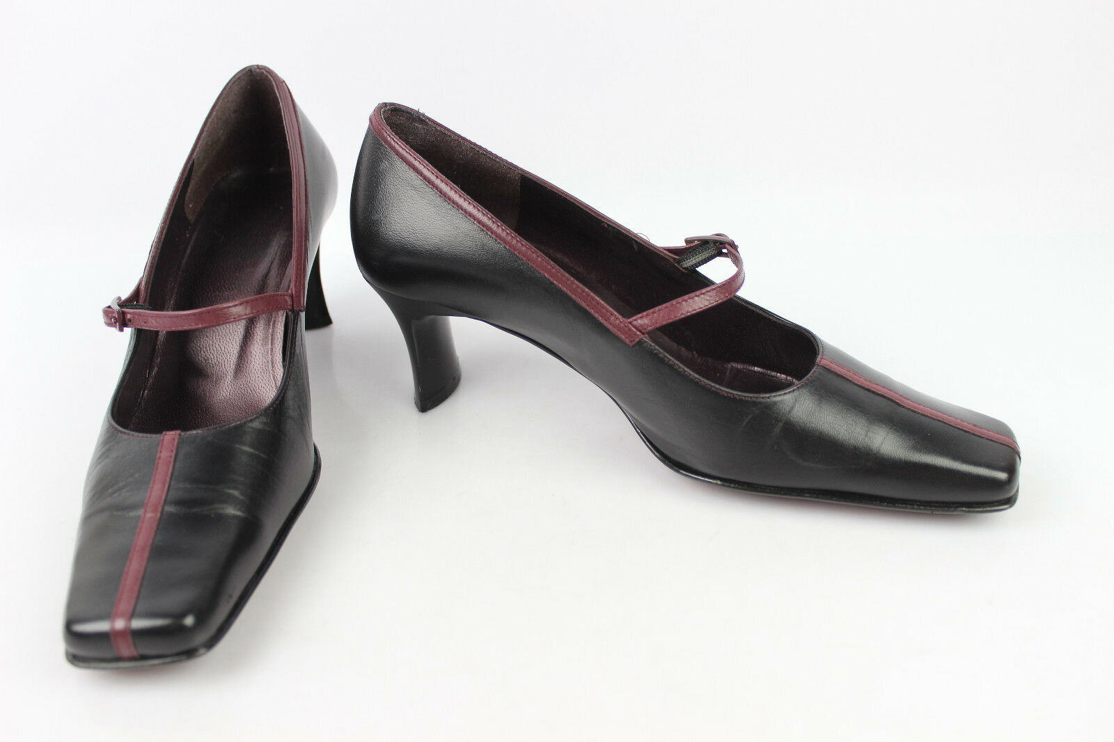 962a491c1e18c shoes flanged CORINE Black Leather and plum T 37 VERY GOOD CONDITION ...