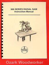 Walker Turner 900 Series Radial Arm Saw Ra901 Ra902 Operators Manual 075