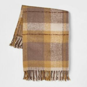 60 Quot X50 Quot Faux Mohair Plaid Gold Throw Blanket Threshold