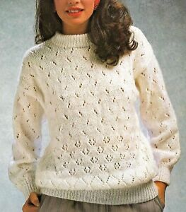 5fbf0589a 175 Ladies Eyelet Sweater DK Knitting Pattern ONLY 32-42