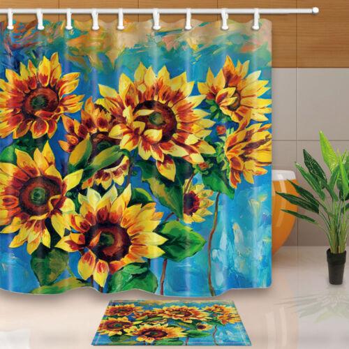 Sunflower Spring Flower Painting Bathroom Waterproof Fabric Shower Curtain 71in