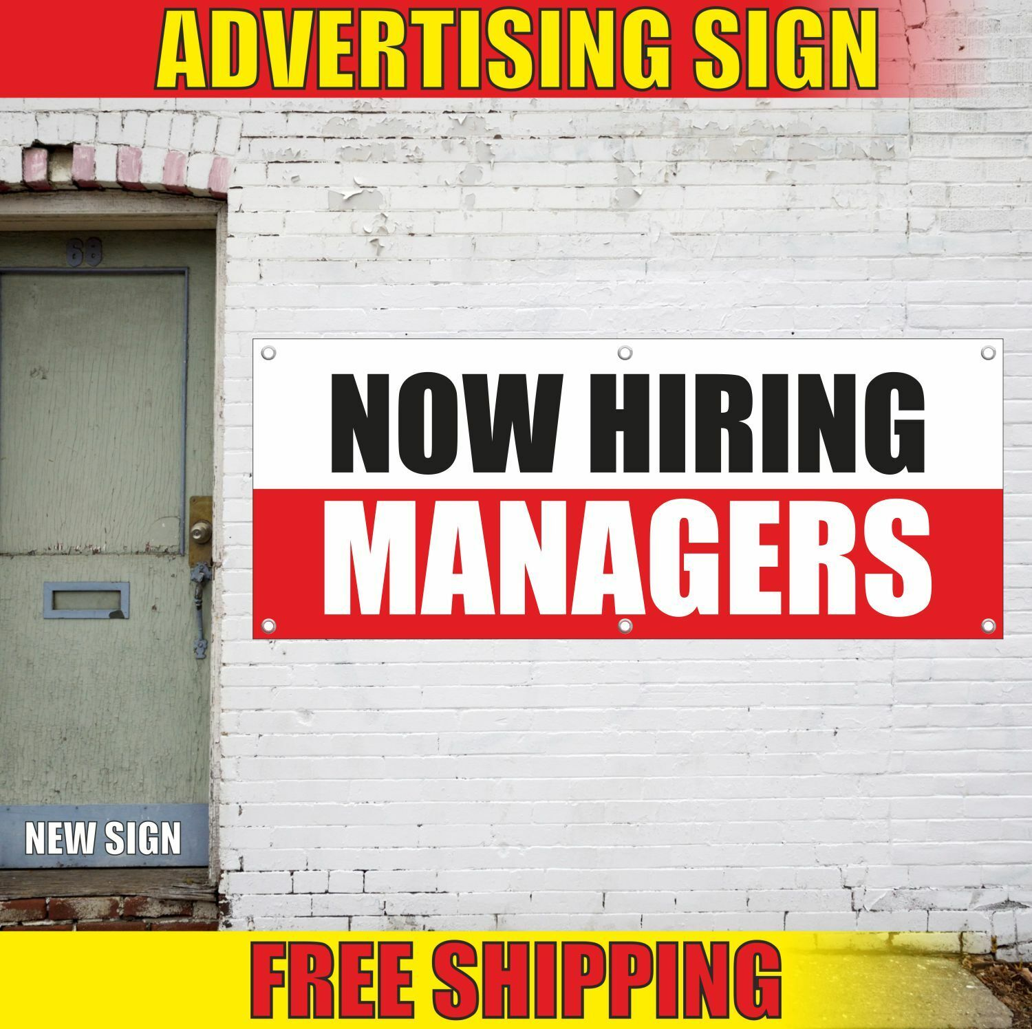 NOW HIRING MANAGERS Advertising Banner Vinyl Mesh Decal Sign FAIR JOB WANTED 2
