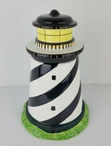 Vintage Lighthouse Cookie Jar Coastal Breeze Warren Kimble Sakura Black White