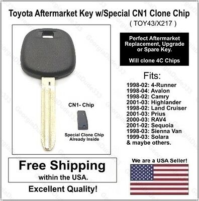 Uncut Transponder Ignition Key fits Toyota with 4C Chip Set of 2