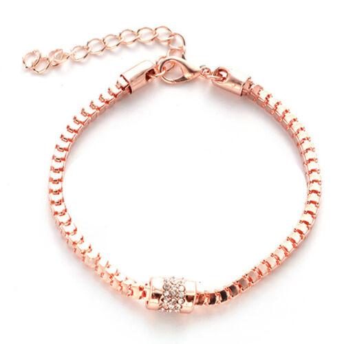 Women Rose Gold Plated Rhinestones Snake Chain Bracelets Fashion Jewelry SI