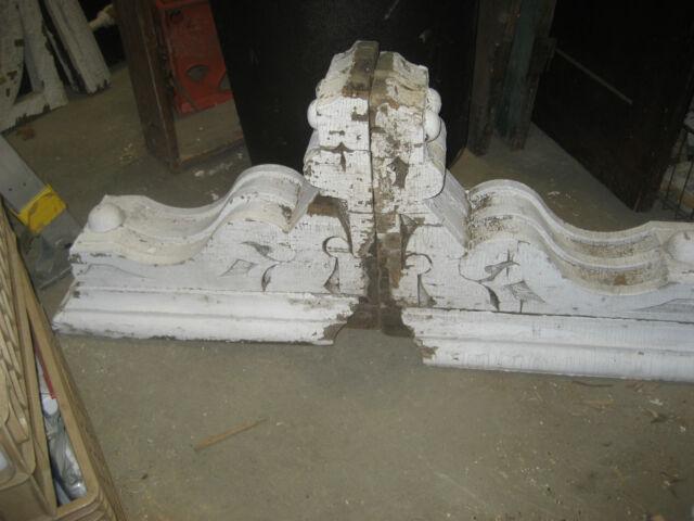 "LARGE pair c1870 victorian CORBELs brackets crusty white paint 22 x 17 x 10"""