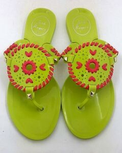 Jack-Rogers-Women-039-s-Lime-Bright-Pink-Georgica-Jelly-Thong-Flip-Flop-Sandal-6