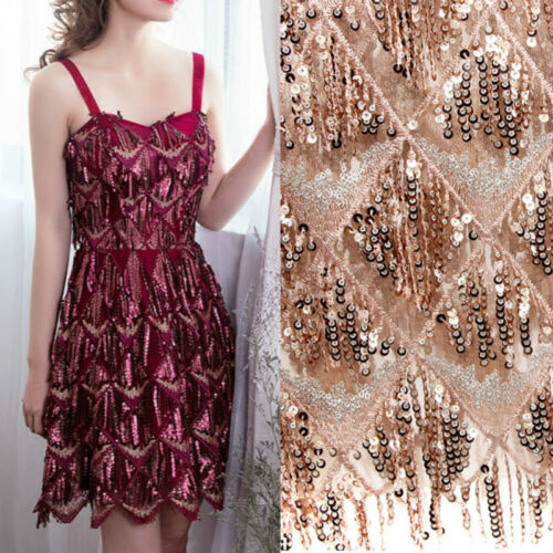 Embroidered Sequin Tassel Lace Fabric Mesh Net Tulle Dressmaking Craft Material