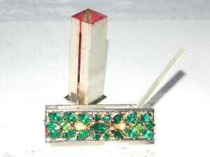 VTG Elgin American Compact Mechanical LIPSTICK HOLDER w/ Green Glass Crystals