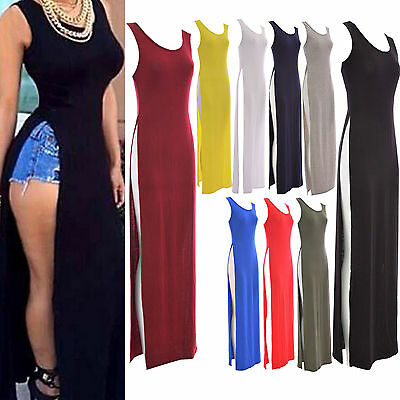 Ladies Women Sleeveless Stretch Both Side Split Scoop Neck Long Maxi Dress Top