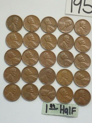 SHIPS FREE 1956-P SOLID DATE LINCOLN WHEAT CENT ROLL = 50 PENNIES **VG-XF** 8