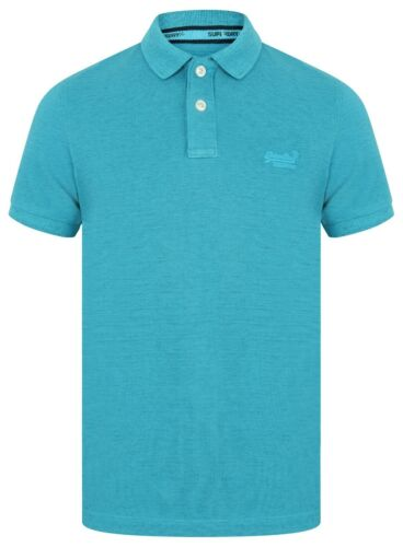 Mens Superdry Vintage Destroyed Short Sleeve Pique Polo Shirt T-Shirt Blue Marl