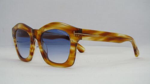 Gold Sunglasses Blue Gradient Lens Tom Ford Greta TF 431 41W Striped Yellow