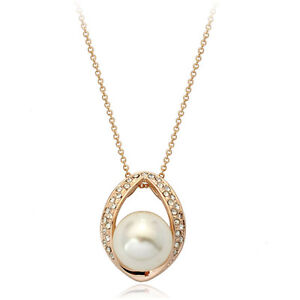 18K-ROSE-GOLD-PLATED-GENUINE-CLEAR-AUSTRIAN-CRYSTAL-amp-WHITE-PEARL-NECKLACE