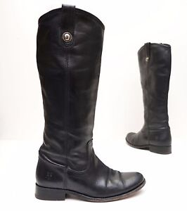 9413e87b688 Details about ~FRYE~ Black Leather ~Melissa Button~ Tall Black Riding Boots  - Womens US 5.5B