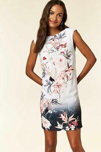 Ex-WALLIS-PETITE-Ivory-Floral-Print-Shift-Dress-UK-16-US-12-EUR-44-TS56-8