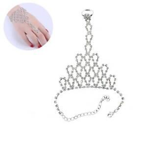 Women-Rhinestone-Bangle-Chain-Link-Finger-Ring-Wedding-Bride-Wristband-Bracelet