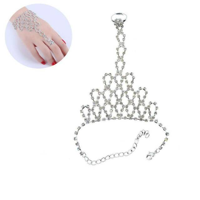 Women Rhinestone Bangle Chain Link Finger Ring Wedding Bride Wristband Bracelet