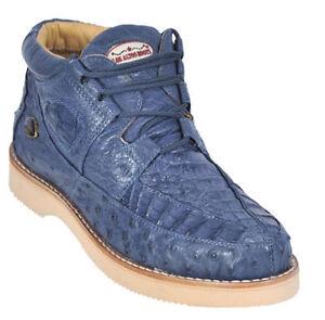 Los-Altos-Genuine-JEAN-BLUE-Caiman-Crocodile-Ostrich-Casual-Shoes-Lace-Up-D
