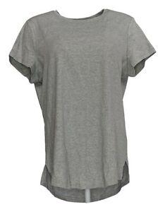 Isaac-Mizrahi-Live-Women-039-s-Top-Sz-L-Essentials-Curved-Hem-T-Shirt-Gray-A288195