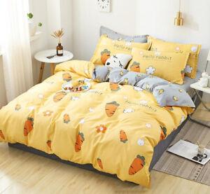 Yellow-Cartoon-Bedding-Set-Duvet-Quilt-Cover-Sheet-Pillow-Case-Four-Piece-New