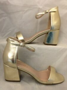 e317a878631 Details about gold heels Size 7 Strappy Barely There Metallic Shiny